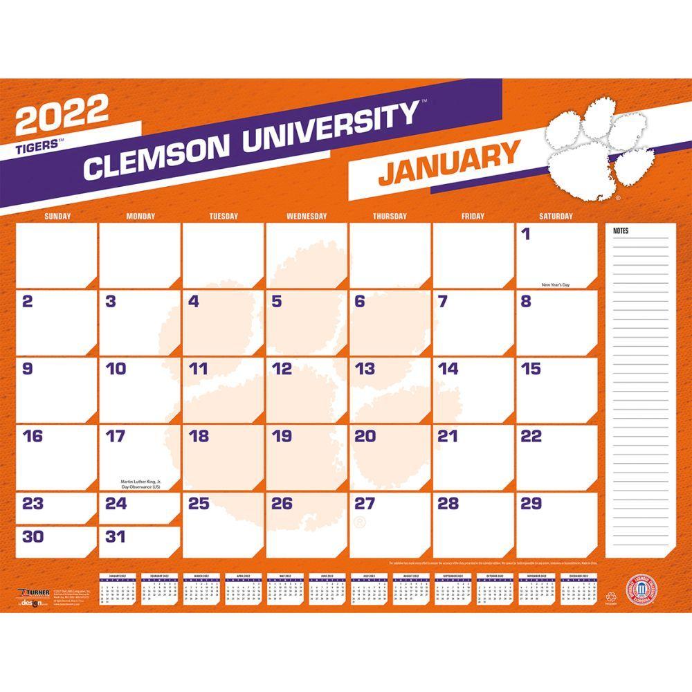 Clemson Calendar Fall 2022.Clemson Tigers 2022 Desk Pad Calendar Calendars Com