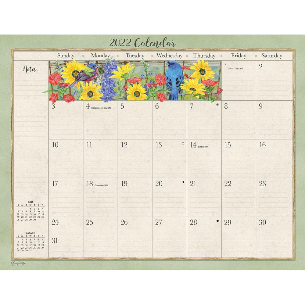 Birds In The Garden 2022 Desk Pad Calendar