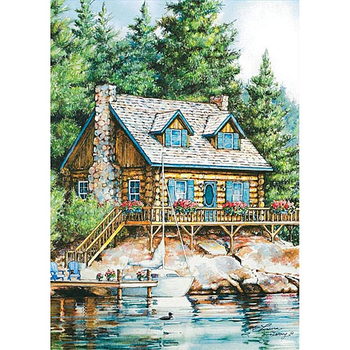 Cabin-On-The-Lake-Outdoor-Flag-Mini---12-x-18-1