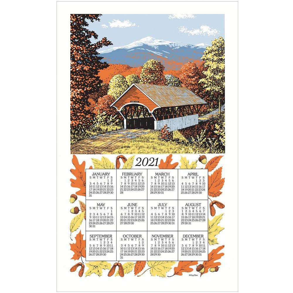 Fall Covered Bridge 2021 Kitchen Towel Calendar