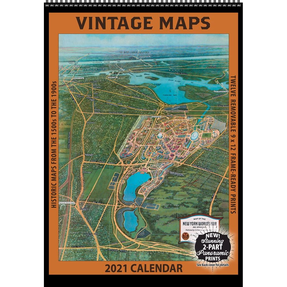 2021 Maps Vintage Poster Wall Calendar