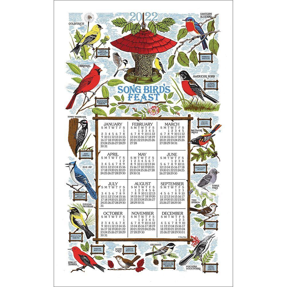 Songbird Feast 2022 Kitchen Towel Calendar