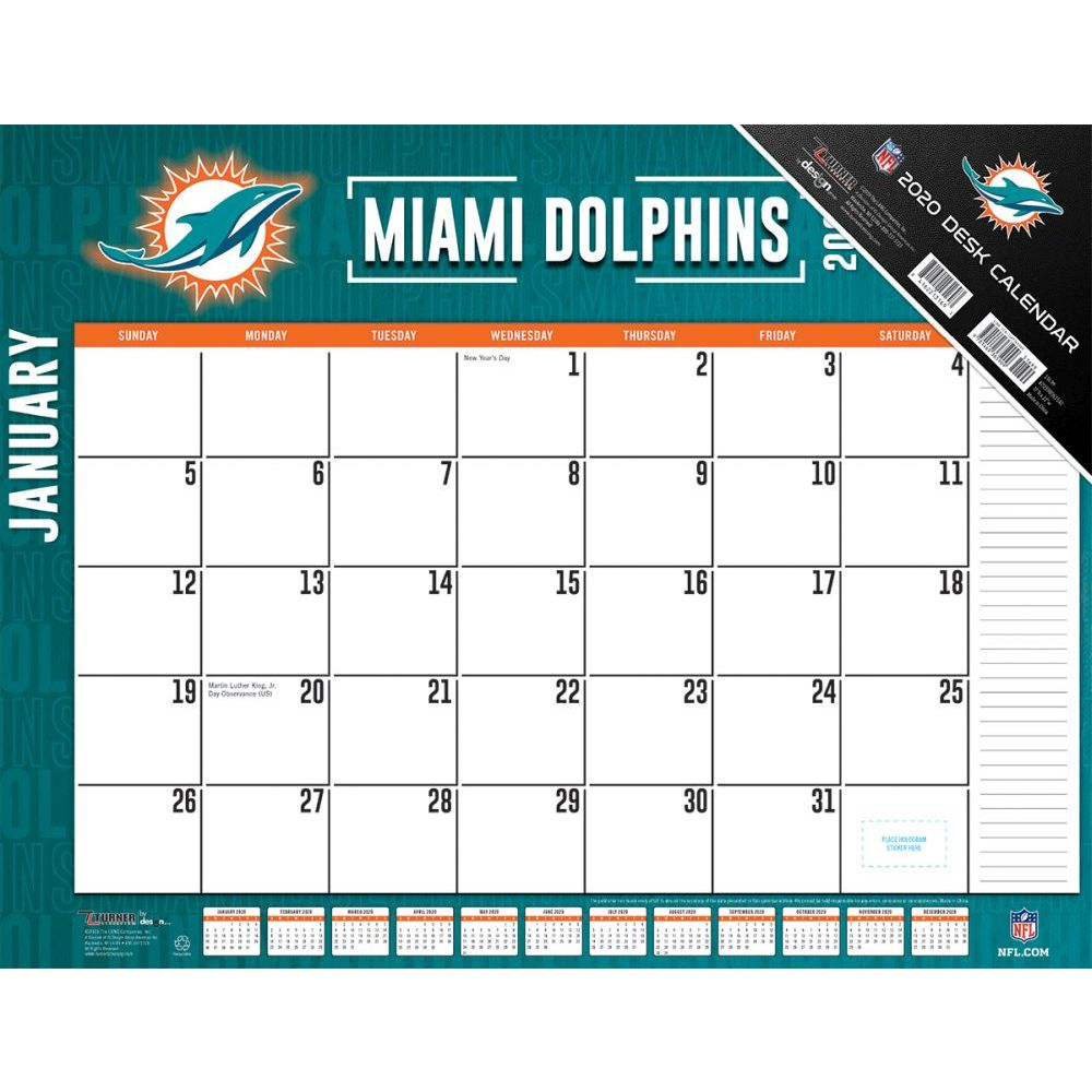 Miami Dolphins 2021 Desk Pad