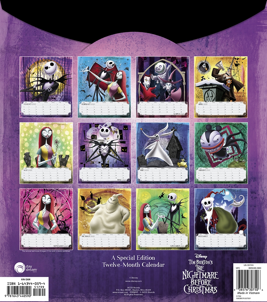 The Nightmare Before Christmas - 2020 Wall Calendar Nightmare Before Special Edition Wall Calendar   Calendars.com