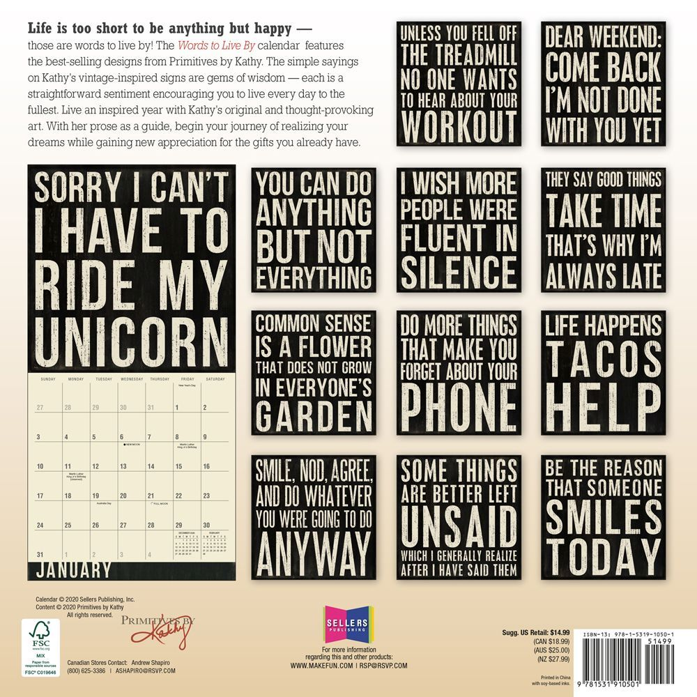 Words to Live By Wall Calendar