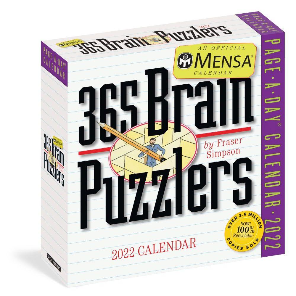 365 Mensa Brain Puzzlers Page-A-Day 2022 Desk Calendar