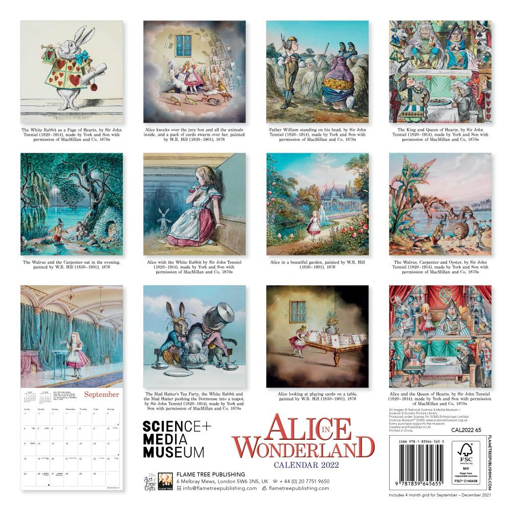 Science Museum Alice in Wonderland 2022 Wall Calendar