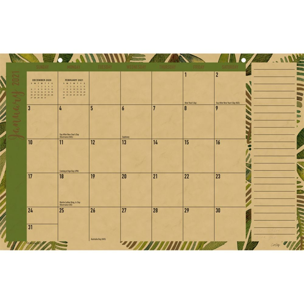 2021 Kraft Tropic Desk Pad Calendar by CatCoq