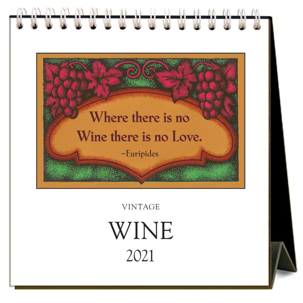 Vintage Wine 2021 Easel Desk Calendar