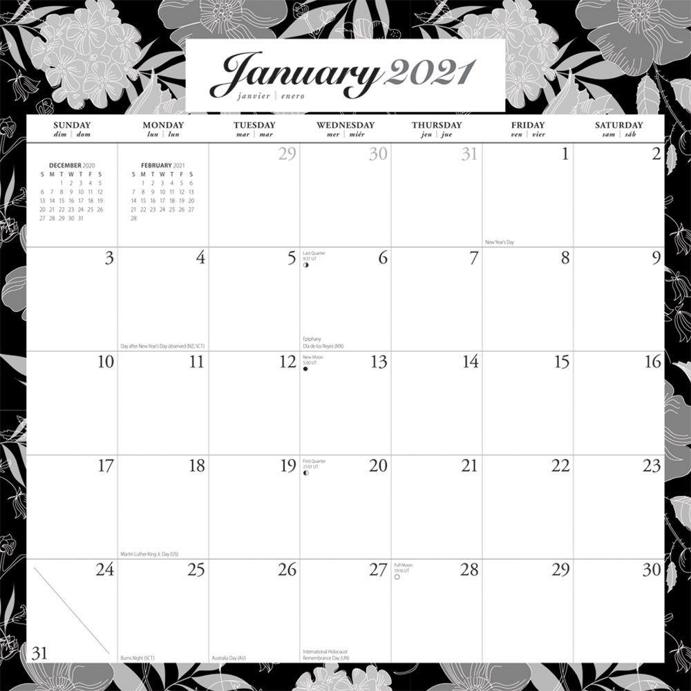 2021 Ebony and Ivory Spiral Wall Calendar