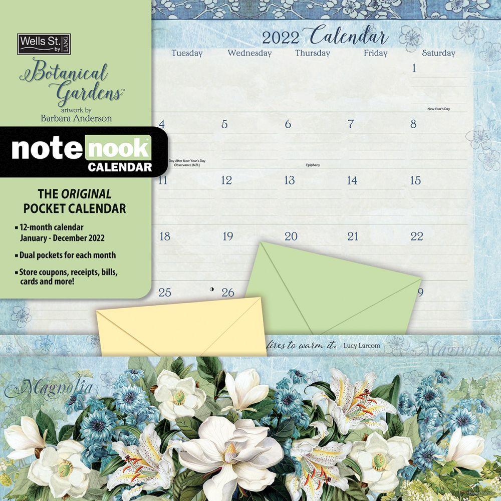 Botanical Gardens 2022 Note Nook Wall Calendar