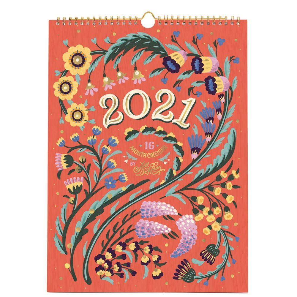 2021 Floral Typography Haan HN Poster Wall Calendar