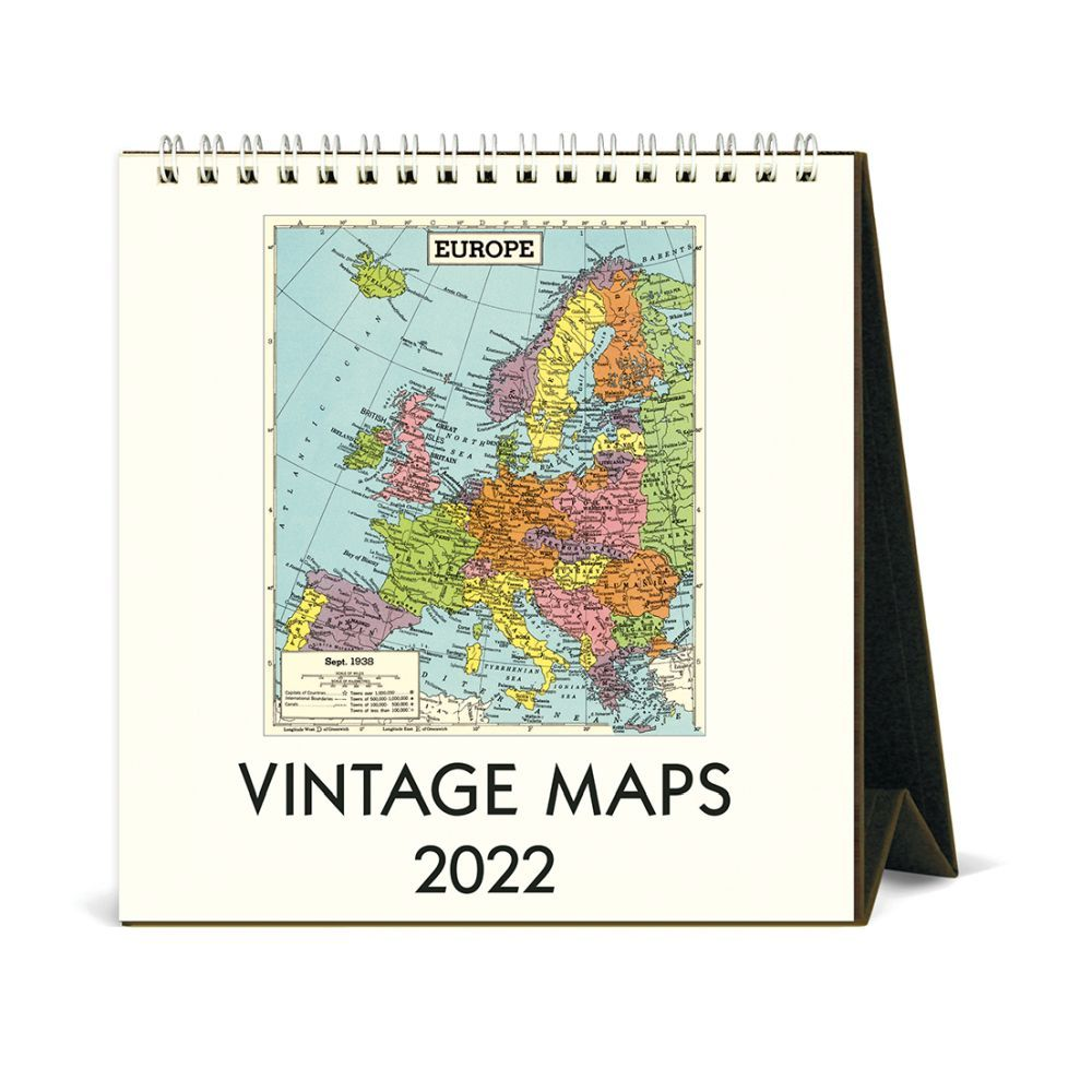 Vintage Maps Art 2022 Easel Calendar