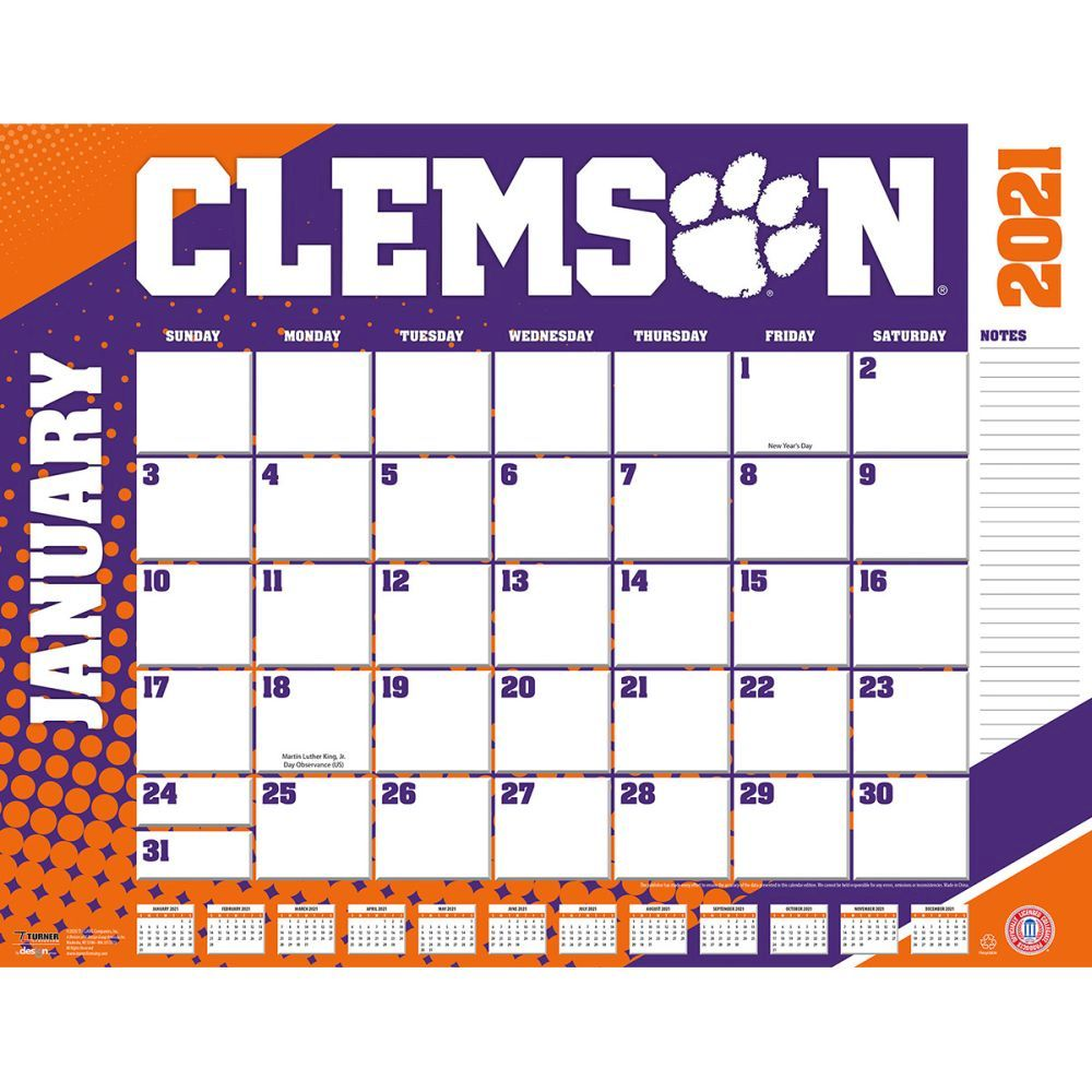 Clemson Tigers 2021 Desk Pad