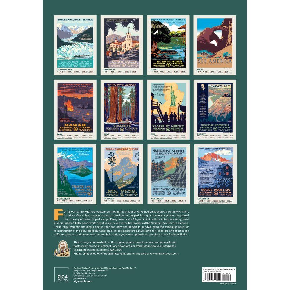 National Parks Calendar 2022.National Parks Poster Art Of The Wpa 2022 Large Wall Calendar Calendars Com