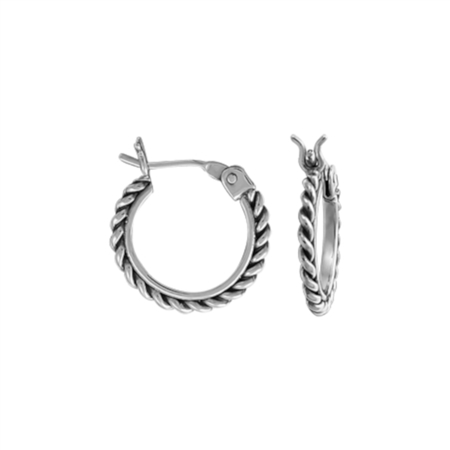 image Sterling Silver Twist Small Hoop Earrings