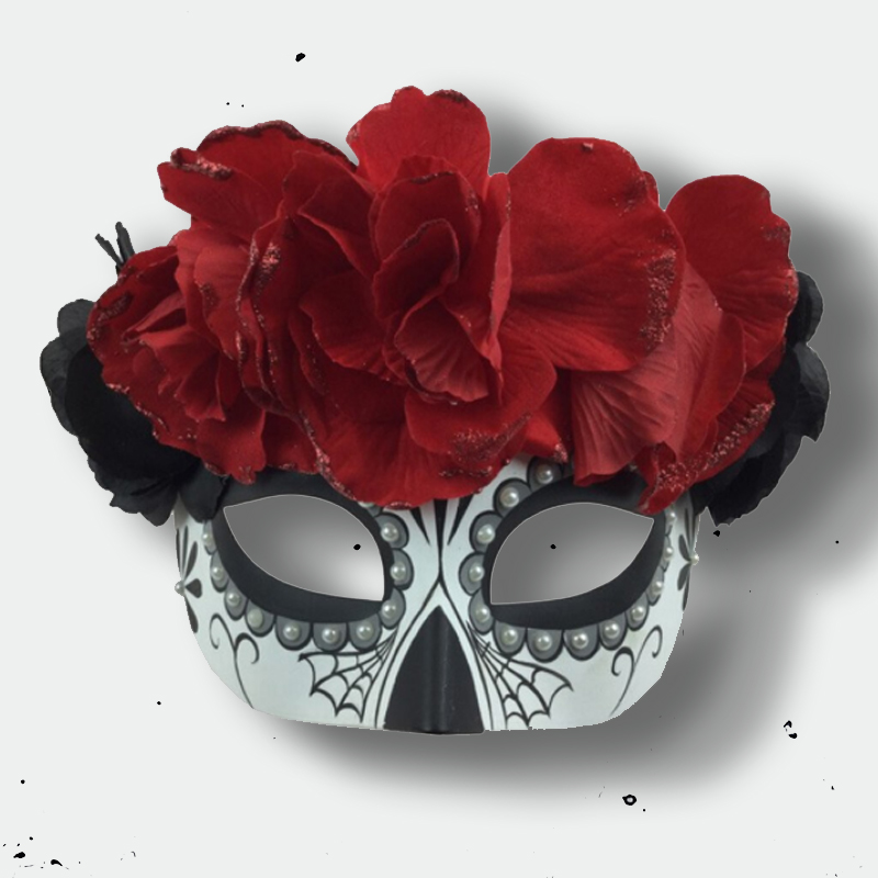 image Sugar Skull Mask with Flowers