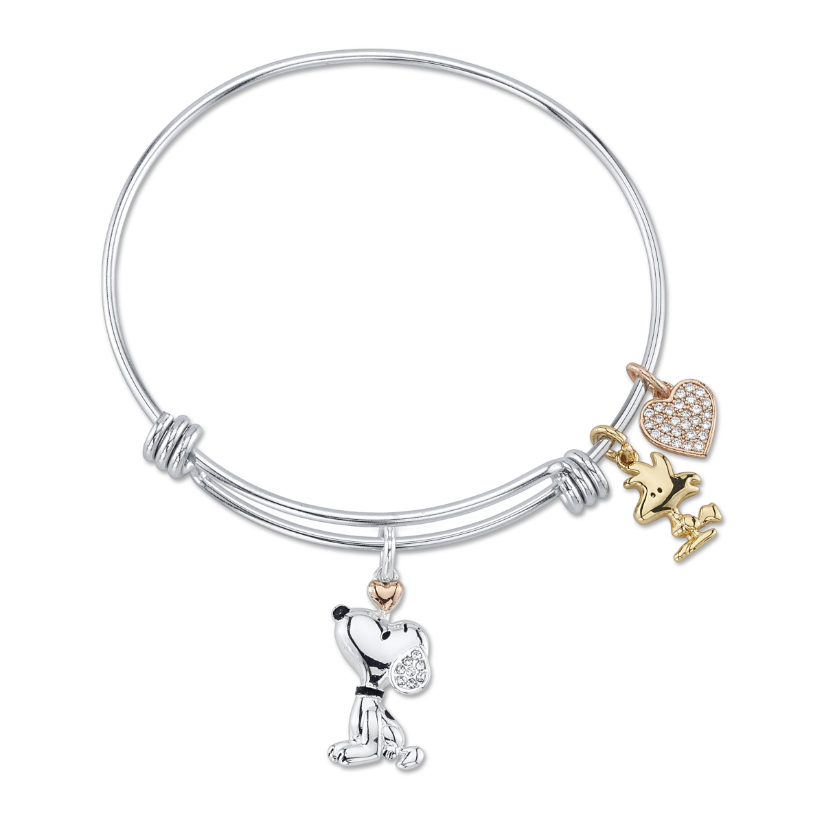 image Peanuts-Snoopy-And-Woodstock-Crystal-Charm-Bracelet-Main-Image