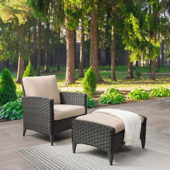 CorLiving Charcoal Parkview Wicker Chair and Foot Stool Set - 2pc.