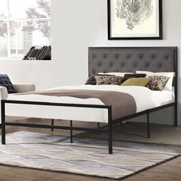 Titus Contemporary Grey Upholstered Tufted Bed Frame