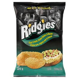 Ridgies Sour Cream and Green Onion with Bacon Potato Chips - 220g