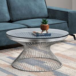 Monarch Specialities Coffee table Stainless Steel with Tempered Glass