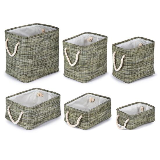 Truu Design Green Rectangular Storage Baskets - 6pc.