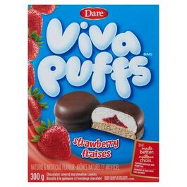 Viva Puffs Strawberry Chocolatey Covered Marshmallow Cookies - 300g