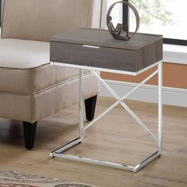 Monarch Specialties 24 in. Accent Table - Dark Taupe and Chrome Metal