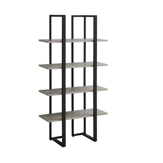 Monarch Specialties Dark Taupe and Black Metal Bookcase - 60in.