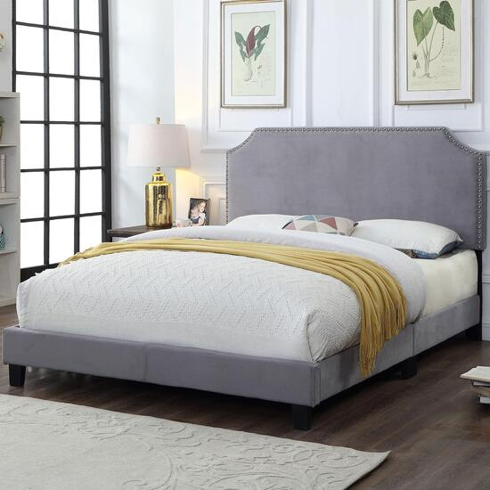 Titus Contemporary Upholstered Grey Platform Bed