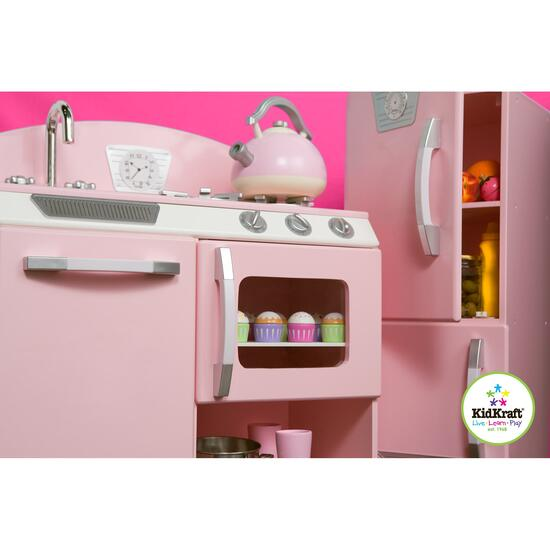 KidKraft Retro Kitchen and Refrigerator - Pink