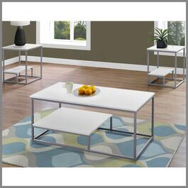 Monarch Specialties White and Silver Coffee Table Set - 3pc.