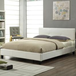 Titus Contemporary White Upholstered Platform Bed