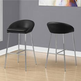 Monarch Specialties Chrome Black Barstools - 2pc.