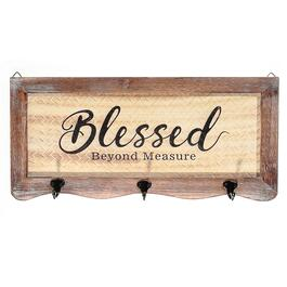 Basketweave Wall Sign with 3 Hooks-Blessed Beyond Measure