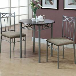 Monarch Specialties Inc. 3 Piece Dining Set - Cappuccino and Silver Metal