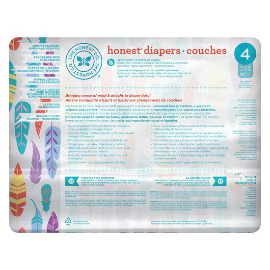 The Honest Company Painted Feather Patterned Diapers Size 4 - 116pk.