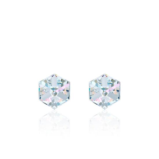 Swarovski Aurore Boreale Cube Stud Earrings - 4mm