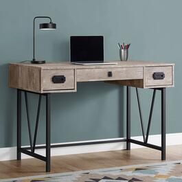 Monarch Specialties Taupe Reclaimed Wood Metal Computer Desk - 48in.