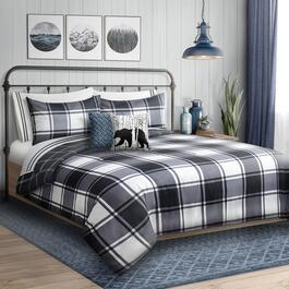 Safdie & Co Inc Printed Reversible Twin Comforter Set - Black Check-2pc.