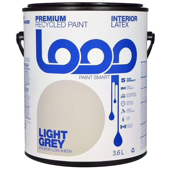 Loop Grey Interior Latex Premium Recycled Paint - 3.8L
