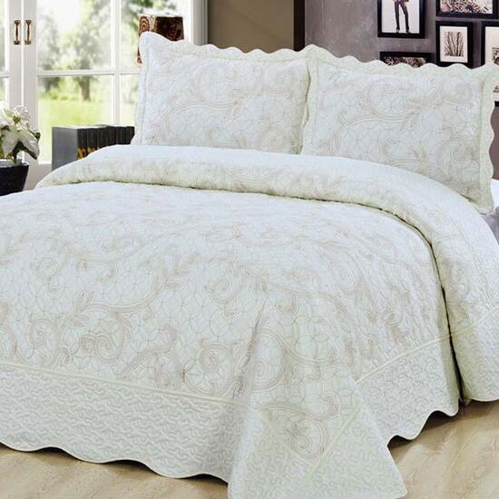 Beauty Sleep Bedding Embroidered Cream Quilt Set - Twin