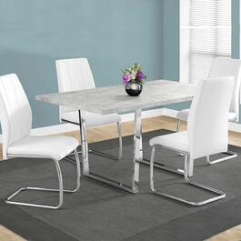 Monarch Specialties Dining Table- Grey Cement and Chrome Metal -  36 in. x 60 in.