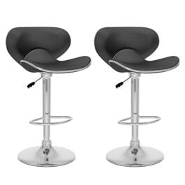 CorLiving Curved Form Fitting Black Adjustable Bar Stool  - Set of 2