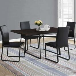 Monarch Specialties Dining Table- Cappuccino and Black Metal -  36 in. x 60 in.