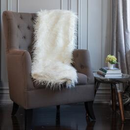 Milano Mongolian White Faux Fur Throw