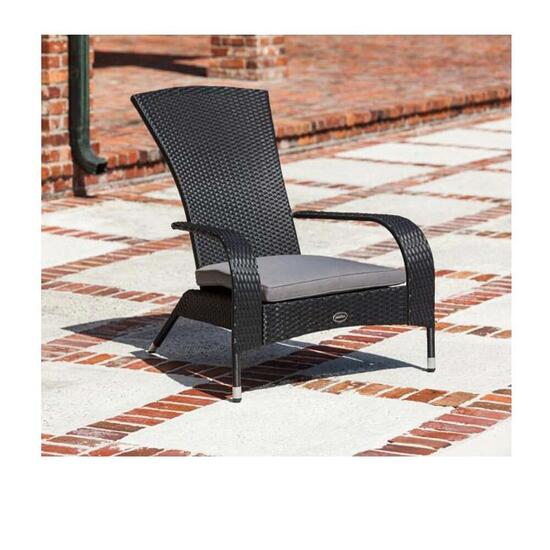 Patioflare Wicker Muskoka Chair - Brown Wicker with Beige Cushion