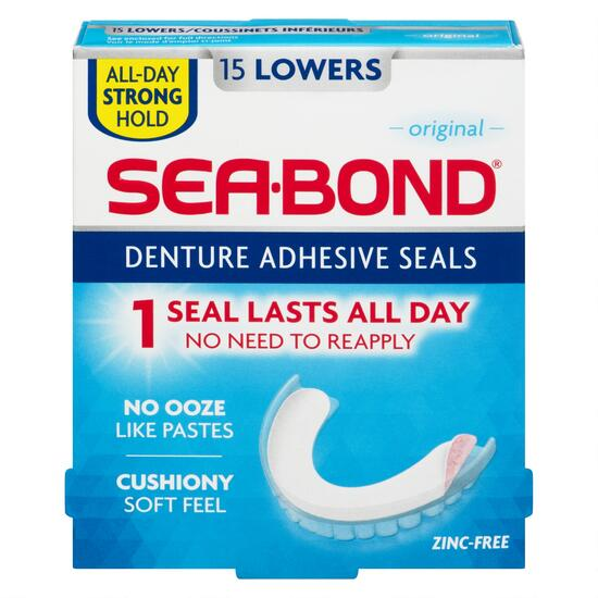 SeaBond® Original Lowers Denture Adhesive Seals - 15pk.