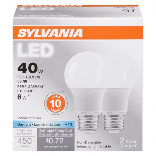 Sylvania 40W Daylight LED Light Bulb - 2pk.